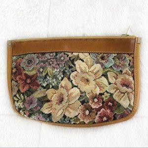 Vintage Leather & Tapestry Clutch Floral Unique